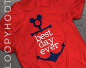 Best Day Ever Disney Cruise Family Vacation Mickey Anchor T-shirt in RED