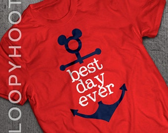 "Disney Cruise Shirts ""Best Day Ever"" Mouse Anchor Family Vacation shirt in RED"