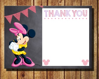 Minnie Mouse Thank You Card Instant Download DIY Printable Chalkboard Style Minnie Mouse Thank You