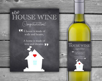 PRINTABLE - House Warming Gift Wine Label - Instant Download - Chalkboard  New Home Wine Label - Housewarming Gift Wine Label - DIY - 0055