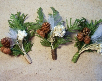 "Three Groomsmen Boutonnieres, Groom, ""buttonhole."" (choose color)  Wedding, bridal, floral."