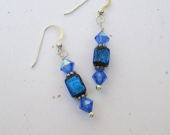 Blue dichroic glass cube beads with blue Swarovski crystals on sterling silver ear wires