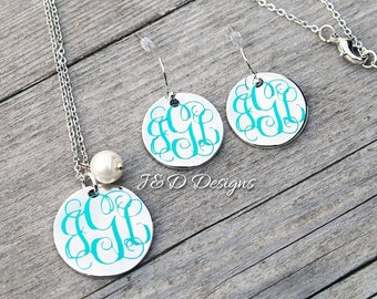 Monogrammed Necklace and Earring Set/Mother's Day Gift