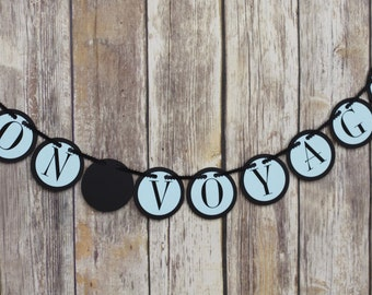 bon voyage banner, travel theme party, travel theme shower, map banner, going away party, travel banner, french banner, suitcase banner