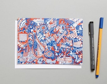London Red and Blue doodle/zen art blank Greeting Card made in the UK