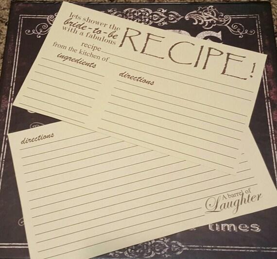 Vintage Recipe for Love recipe card bridal shower gift wedding gift ...