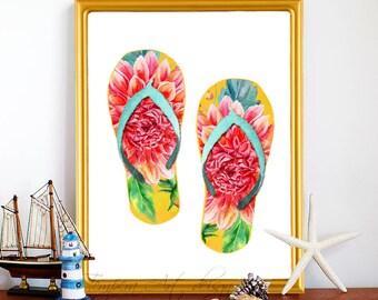 Flip Flops Wall Art, Tropical Wall Art, Flip Flops Decor, Flip Flops Print, Green Flip Flops, Hibiscus Flip Flops, Nautical Flip Flops