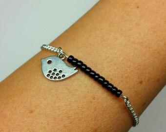 Simple Bird Bracelet- Beaded- Friendship Bracelet- Boho-Bohemain Style- Gift - Pick your color