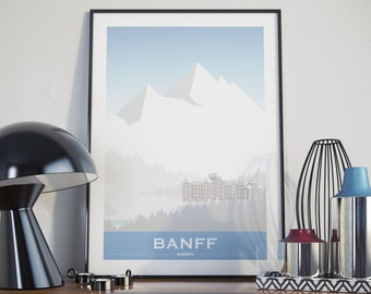 Banff, Alberta City Illustration