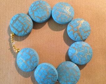Bracelet blue-silver blue with Golden crepe
