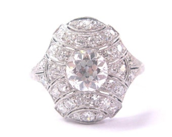 Platinum Art Deco Old European Cut Diamond Ring 1.84CT