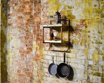 Reclaimed scaffold board and copper pipe shelving unit