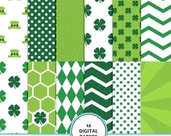 St Patrick's Day Digital Paper,  Green Shamrock, Saint Patrick digital scrapbook papers, clover, St Patty Day Patterns, green papers, Irish