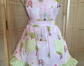 Princess apron , girls apron , full apron ,