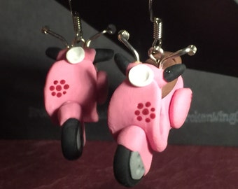 Pink scooter polymer earrings