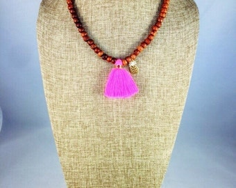 Necklase/Wood Necklase Cotton Tassel with Charm in gold filled