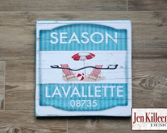 "Jersey Shore ""Lavallette""  Beach Badge Wood Sign // Jersey Shore Art // NJ // Beach Decor // Town Signs // Beach House Sign"