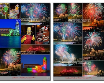 Two photo montages of New Years Eve in Collioure