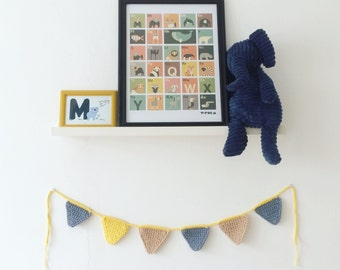 Garland of 6 pennants in cotton