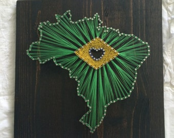 MADE TO ORDER: Brazil String Art - 10x10""