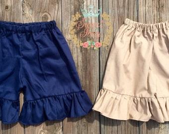 Uniform Ruffle Shorts School Back to School Khaki Navy blue 1st grade 2nd grade kindergarten