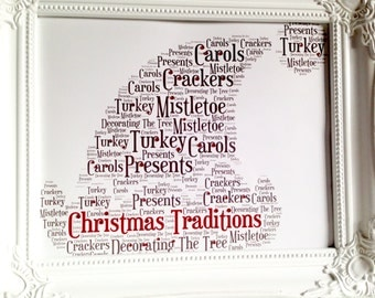 Santa hat picture, Christmas present, words picture, Christmas picture or Christmas decoration