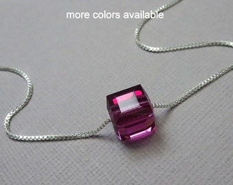 Swarovski Fuschia Crystal Cube Necklace, Hot Pink Necklace, Wedding Necklace, Bridesmaid Necklace, Flower Girl Necklace, Fuschia Jewelry