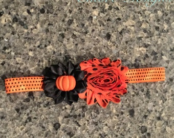 Halloween pumpkin headband- baby headband- ornage and black headband- halloween headband- photo prop- holiday headband- punpkin headband