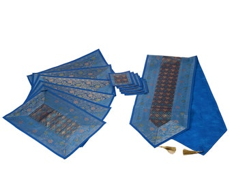Indian Silk Table Runner with Placemat 6 and Coaster 6 in Blue Color Size 16*62