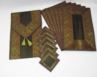 Brown Color Indian Silk Table Runner with Placemat 6 and Coaster 6 Size 16x62