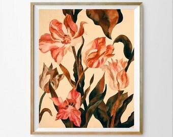 Flowers wall art print Watercolor art decor Flowers wall art decor Flowers digital art Flowers art printable