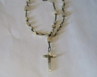 EDWARDIAN hand carved mother of pearl rosary