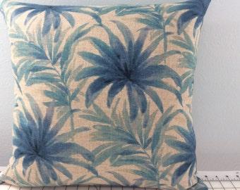 Palm Pillow Cover-Beach Pillow-Lake Pillow-Coastal Pillow-Tropical Pillow-Nuatical Pillow-Palm Leaf Pillow-Blue Pillow
