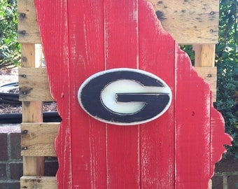 State of Georgia wood pallet sign, University of Georgia logo in the center