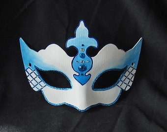 Blue and White Masquerade Mask - SALE