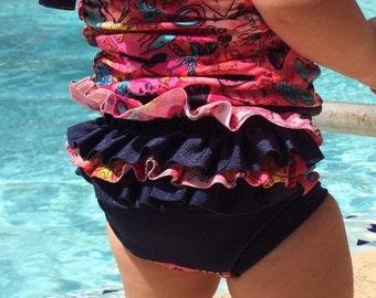Toddler Swimwear, Girls swimwear, Girls Tankini and Ruffled Bottom, Toddler Swimsuit, Swimwear for Toddlers, Infant Swimsuits, Baby Swimwear