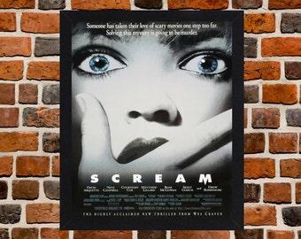 Framed Scream Horror Movie Film Poster A3 Size Mounted In Black Or White Frame