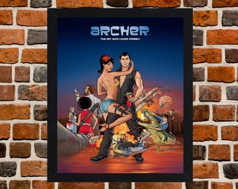 Framed Archer TV Series Poster A3 Size Mounted In Black Or White Frame
