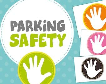 Parking Safety - childrens safety-  hand print - sticker - car decal