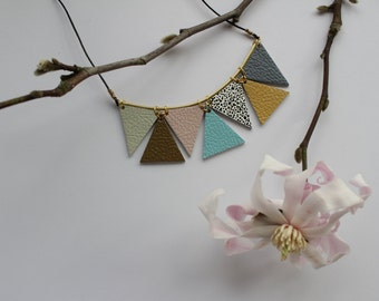 Triangle Necklace • Geometric Necklace • Leather Necklace • Leather Jewellery• Brass Tube Jewellery • Statement Necklace • Pastel Necklace