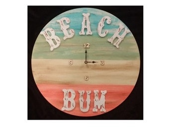Beach Bum Beach Decor Wood Clock