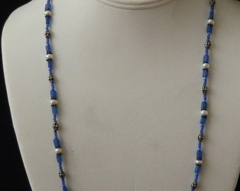 Silver, Blue Glass Bead, Freshwater Pearl Necklace