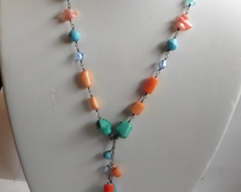 FREE SHIPPING!     Sterling Silver Vintage Necklace With Coral And Turquoise Features
