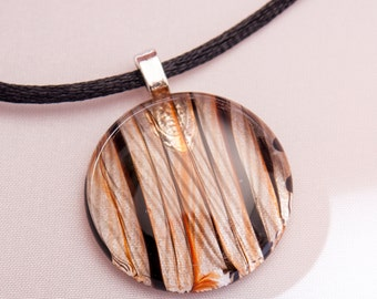 "Tiger Striped Glass 1"" Pendant"