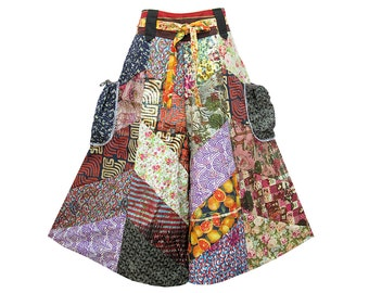 Boho Hippie Tie Waist Pocket-Side Wide Leg Capris Gaucho Patchwork Cotton Pants (P0560)