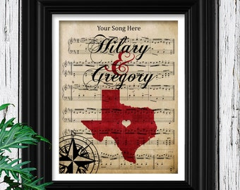 Music Gift For Wife | Your Wedding Song Framed | Birthday Gift for Wife | Your State Silhouette Wall Art | Wife Birthday Gift for Her