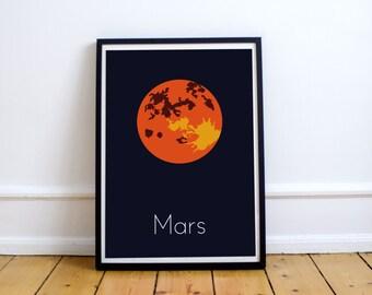 Minimalist poster - Planet Mars - Solar System