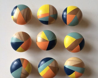 Sunshine. Bundle of 8 Hand painted colourful door knobs handles
