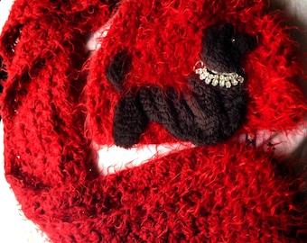 Vintage Poodle on crocheted hat, plus scarf.