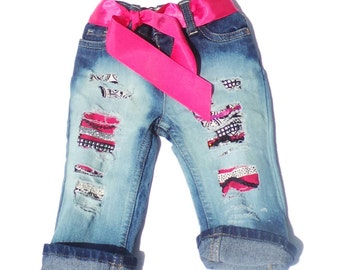 Hot Pink Custom Jeans for Kids